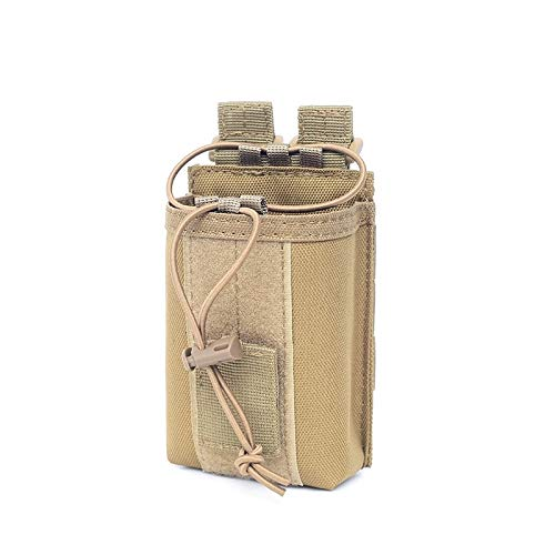 Yafeco Tactical Radio Pouch Holder Molle Radio Holster Military Heavy Duty Radios Pouch Bag for Two Ways Walkie Talkies, Adjustable Storage Tools Case (Khaki)