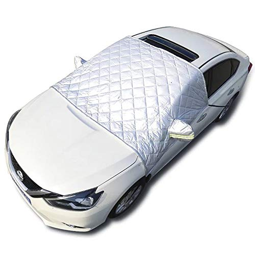 EXQUILEG Faltbare Abnehmbare Windschutzscheibe Abdeckung,Frontscheibenabdeckung Auto Eisschutzfolie,Sonnenschutz Scheibenabdeckung 148x240cm- Auto, SUV universal