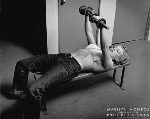 BEYONDTHEWALL Archive Marilyn Monroe Bench Press Classic Hollywood Glamour Actress Celebrity Poster Print (24X36 UNFRAMED Poster)