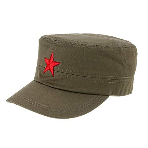 Cinco Puntas Casquillo De La Estrella del Bordado Militares Sombreros Negro Plana...