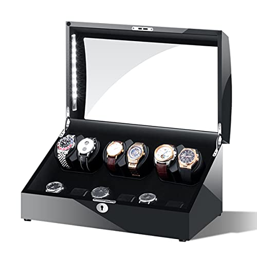 LSRRYD Cajas Giratorias para Relojes Automático Caja De Enrollador De Reloj Automático para 6+7 Relojes con Iluminación LED Motor Silencioso Almohadas Reloj Ajustables