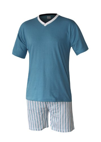 Herren Pyjama Schlafanzug kurz Herren Pyjama kurz Herren Shorty Schlafanzug aus 100{cb92e9dc4022a28df1d833ec5c332f2acdb7358dc75ed8b7ad5a04a569014396} Baumwolle (XXXL/62-64, Oberteil türkis/Hose gestreift)