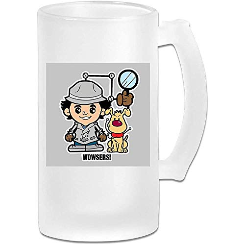 Taza de jarra de cerveza de vidrio esmerilado impresa de 16 oz - Lil Inspector Gadget - Taza grfica