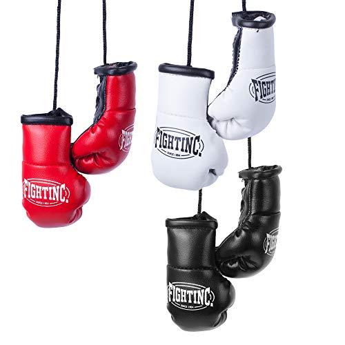 Fightinc. Mini Boxhandschuhe Paar - ideal für Autospiegel, Sporttasche, Schlüsselanhänger UVM Boxen Kickboxen Muay Thai MMA Kampfsport schwarz (001)