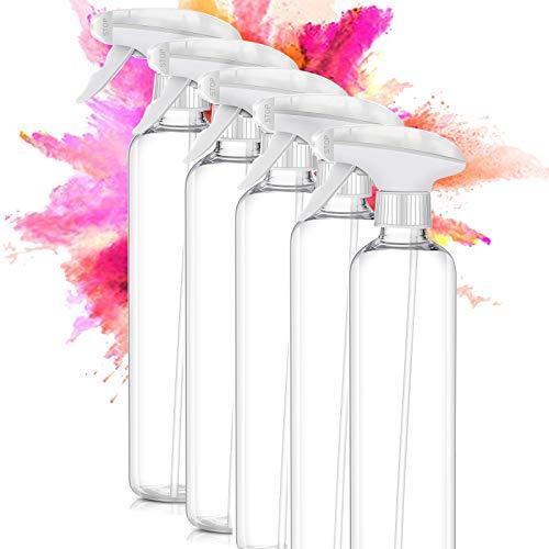 ImnBest Botella de Spray Vacías de Plásticoo 5 x 500ml, Pulverizador Agua de Gatillo Bote Spray Pulverizador para Regar Plantas de Jardín,Limpieza, Cocina