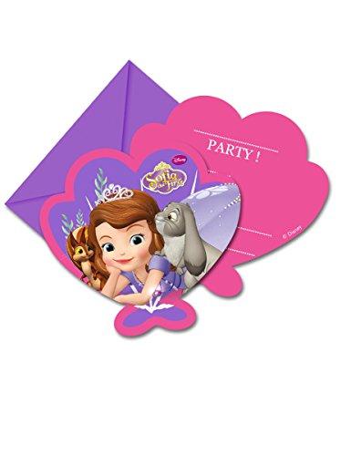6 Cartes d'invitation avec enveloppes Princesse Sofia - taille - Taille Unique - 234815