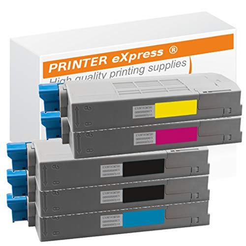 Printer-Express XL Toner 5er Set ersetzt OKI 44315308, 44315307, 44315306, 44315305 Toner für OKI C610 C610 DN C610 N C610 DTN / C610 C610DN C610N C610DTN Drucker