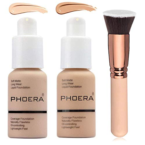 2 colores de base líquida de foera natural impecable cobertura completa base maquillaje con cepillo de base, control de aceite mate corrector facial manchas corrector color cambiante para mujeres niñas (102 y 104)