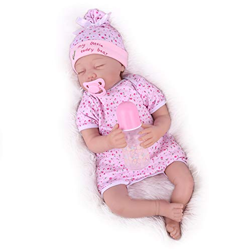 CHAREX Sleeping Reborn Baby Doll, 22 Inch Reborn Baby Girl, Cute Lifelike Baby Doll Reborn with Accessories for Girls Age 3+