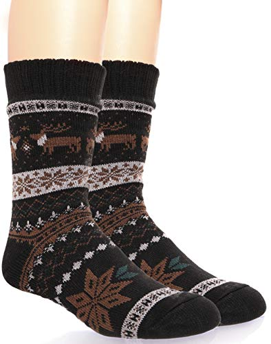 Mens Fuzzy Slipper Socks Warm Thick Heavy Fleece lined Christmas Stockings Fluffy Winter Socks With Grippers (Black & Brown)