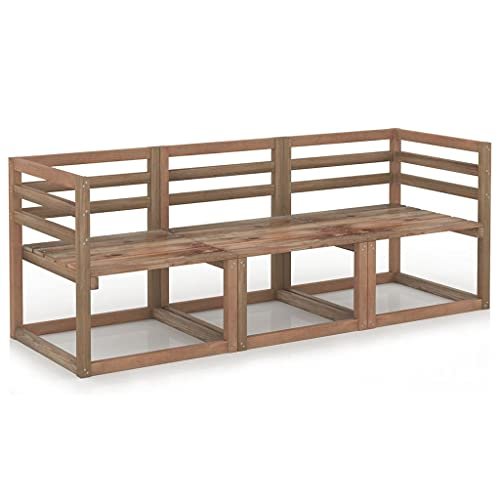 vidaXL Juego de sofás de jardín 3 Piezas Madera Pino impregnada marrón