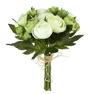 Floristrywarehouse Artificial Silk Flowers Ranunculus Posy Bunch Green White 10 Stems. Height 9 inches