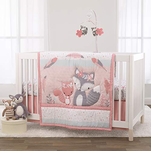 NoJo Desert Flower - Fox & Feathers Pink, Grey & Aqua 3Piece Crib Bedding Set- Comforter, Fitted Crib Sheet, Dust Ruffle, Pink, Aqua, Grey