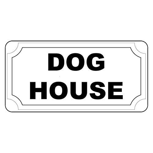 Schild mit Hundehütte, Retro-Stil, mit Löchern, Aluminium, 20,3 x 30,5 cm, Schwarz