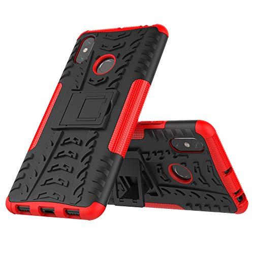 JMstore Hülle kompatibel mit Xiaomi Mi Max 3 +Panzerglas Schutzfolie,Hülle Ständer,Hybrid Handyhülle Drop Resistance (Rot)
