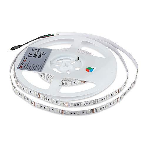Kit completo de tira LED RGB SMD 5050 300 LED 1000 lm 120° IP20 5 m y centralita con mando a distancia y fuente de alimentación 12 V