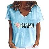 Qigxihkh Lässige Mode für Damen Lose Mama-Bedruckte kurzärmelige Oberteile mit V-Ausschnitt(5-Blau, XL)