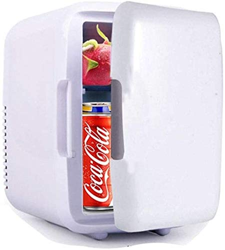 LAZ Portable Mini Fridge for Car Small Fridge Freezer for Bedroom 12V 220V with Cooling and Warming Function Silent A+ 6 Cans Blue (Color : White)