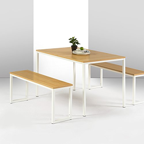 Zinus Louis Modern Studio Collection Soho Dining Table with Two Benches / 3 piece set, White