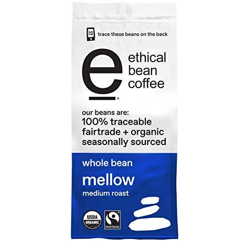 Ethical Bean Fairtrade Organic Coffee, Mellow Medium Roast, Whole Bean Coffee (12 Oz Bag), Mellow Medium Roast, 0.75 Lb