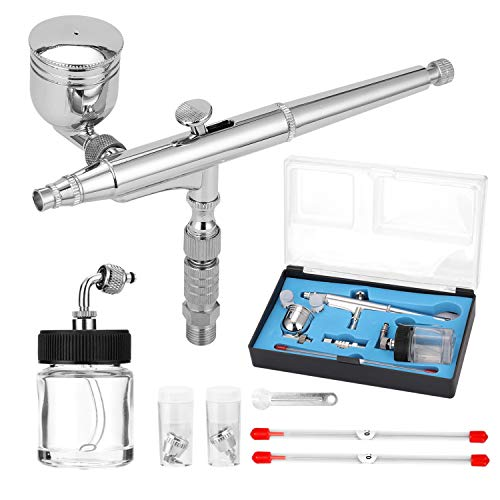 Professional Airbrush Set for Model Making Art Painting with G1/8 Adapter Wrentch 2 Fluid Cups 2Needles 2 Nozzles