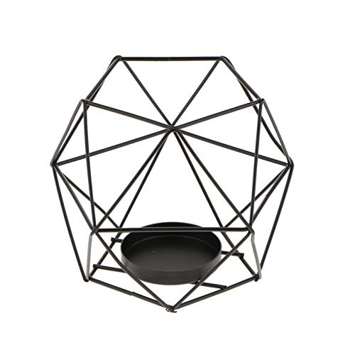 GUOQING Iron 3D Geometric Candle Holders Nordic Style Wrought Rack Candleholder Candlestick Mood Tea Light Holder Wedding Tabletop Sconces Holders (Color : Black)