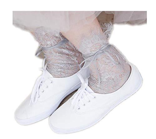 YABINA (TM) 3 Pairs Women's Ultrathin Transparent Lace Elastic Short Socks (Grey)