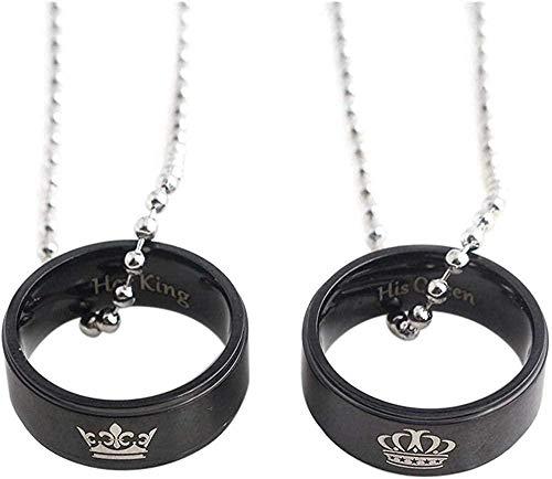 WSBDZYR Co.,ltd Collar de Moda 1 par Anillo de Amante Collares Pendientes Su Rey Su Reina Corona Patrón Collar Color Negro Regalo para Pareja