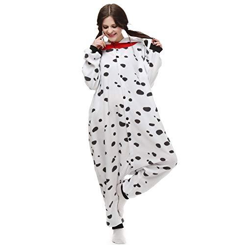 TSMY Unisex Erwachsene Kostüm Cosplay Dalmatiner Einteiler Pyjama - - Small