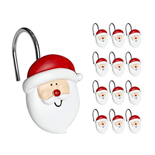 Sunlit Merry Christmas Duschvorhang-Haken, lächelnder Weihnachtsmann, Duschvorhang-Ringe, Harz, Weihnachtsdekoration, Winter-Badezimmerdekoration – 12 Stück