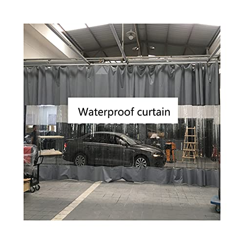 GDMING Exterior Cortina Impermeable, Tarea Pesada Transparente Empalme Impermeable Lona De PVC, Proteccion Solar Hoja De Lona para Kiosko Porche Pérgola, 50 Tamaños (Color : Claro, Size : 3x7m)