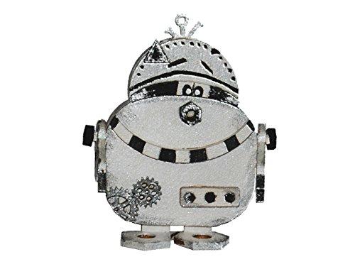 Petra's Bastel News 3 x Holz-Bastelset Roboter P B zwo Größe ca. 80 mm mit passenden einglasigen Brillen, holzfarben, 15x15x5 cm