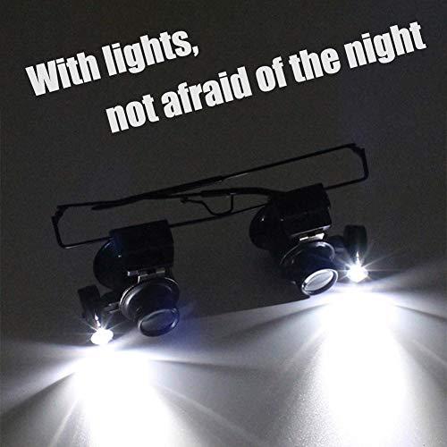 GYW-YW Lupa Lupa Lupa Lupas Lentes de Gafas con iluminación LED Reloj de la joyería Repai 20X Dual Eye Nueva Lente de la Lupa (Magnification : 20X)