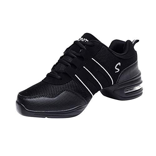 Xiedeai Zapatillas de Deporte para Mujer Jazz - Suela Suave Dividida Zapatos de Jazz Zapatos de Baile Malla Superior Ata para Arriba Comodidad Deporte Aptitud 44 EU