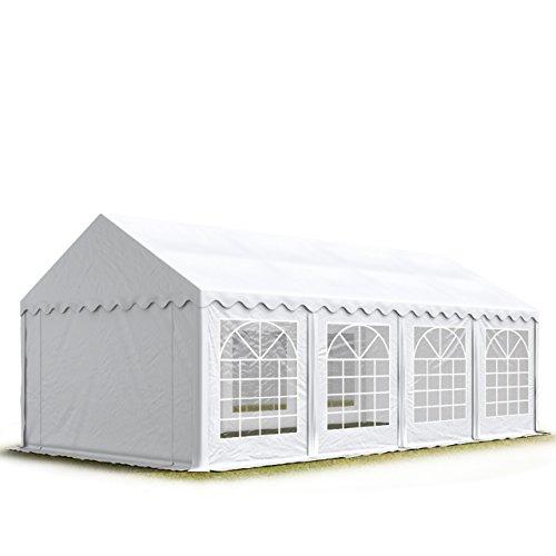 TOOLPORT Tendone per Feste 4x8 m PVC Bianco 100% Impermeabile Gazebo da Giardino Tendone da Esterno Tenda Party