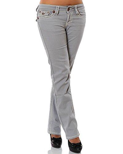 Daleus Damen Jeans Straight Leg (Gerades Bein Dicke Nähte Naht weitere Farben) No 12923, Grau, 38