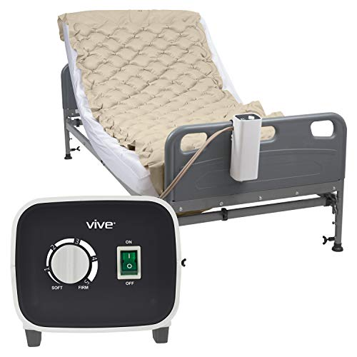 Vive Alternating Pressure Pad - Includes Mattress Pad and Electric Pump System - Quiet, Inflatable Bed Air...