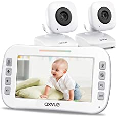 """Video Baby Monitor 4.3"""" Screen, Two Cameras for Two Rooms, Auto Night Vision, Long Range, Pukka White"""