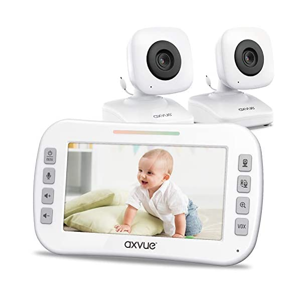 Video Baby Monitor 4.3″ Screen, Two Cameras for Two Rooms, Auto Night Vision,...