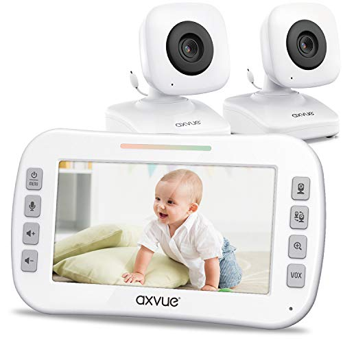 "Video Baby Monitor 4.3"" Screen, Two Cameras for Two Rooms, Auto Night Vision, Long Range, Pukka White"