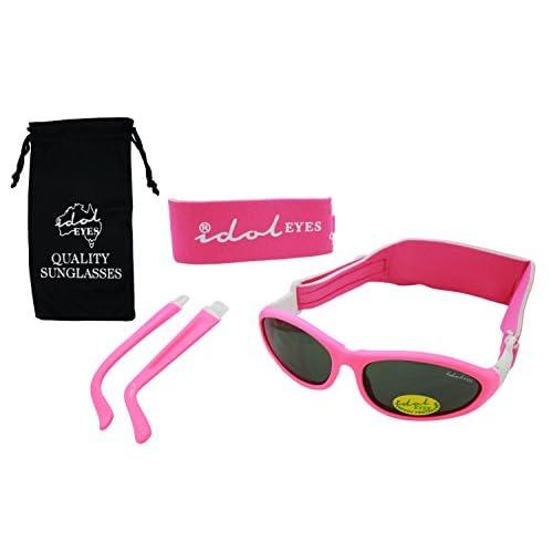"""Idol Eyes """"Baby Wrapz 2"""" - Occhiali da sole convertibili, per bambini da 0 a 5 anni, con 2 fasce e aste collegabili, colore: rosa"""