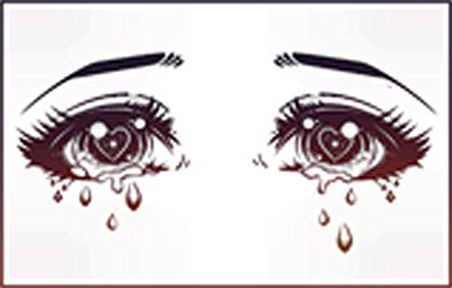 Kawaii Anime Girl Eyes Crying Diamonds Sparkles Hearts Cartoon Vinyl Sticker (2' Wide, Ombre)