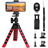 Phone Tripod, PEYOU [5 in 1] Octopus Portable Tripod Stand + Mount Holder Compatible for Gopro Phone + Bluetooth Remote Compatible for iPhone XS Max XR X 8 7 6 Plus,Galaxy Note 9 8 S10 S9 S8 Plus S10e