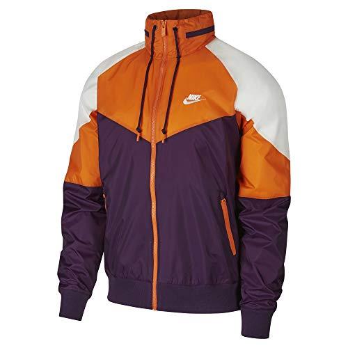 Nike Sportswear Windrunner Men's Packable Hood Windbreaker (Grand Purple/Starfish/Summit White, Large)