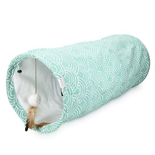 Navaris Katzentunnel Spieltunnel 60x25cm - Tunnel für Katze Hund Kaninchen innen Fleece - Design Katzenspielzeug faltbar - Agility Höhle Röhre