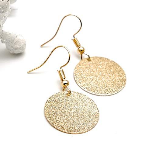 LUCIL® - GOLDEN SKY - Ohrringe Ohrhänger Hängeohrringe rund mit Struktur Farbe: gold