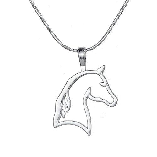 Collar con colgante de cabeza de caballo recortado, ideal para regalo de cumpleaños de chicas y adolescentes vaqueras o jinetes ecuestre, ideal para regalo de cumpleaños