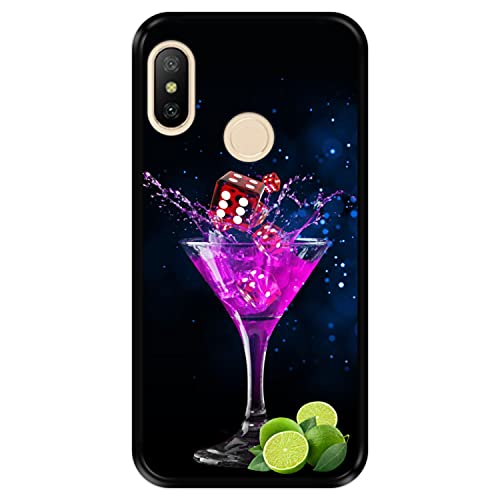 Hapdey Funda Negra para [ Xiaomi Mi A2 Lite - Redmi 6 Pro ] diseño [ Fiesta, Colorido cóctel con Lima y Dados ] Carcasa Silicona Flexible TPU