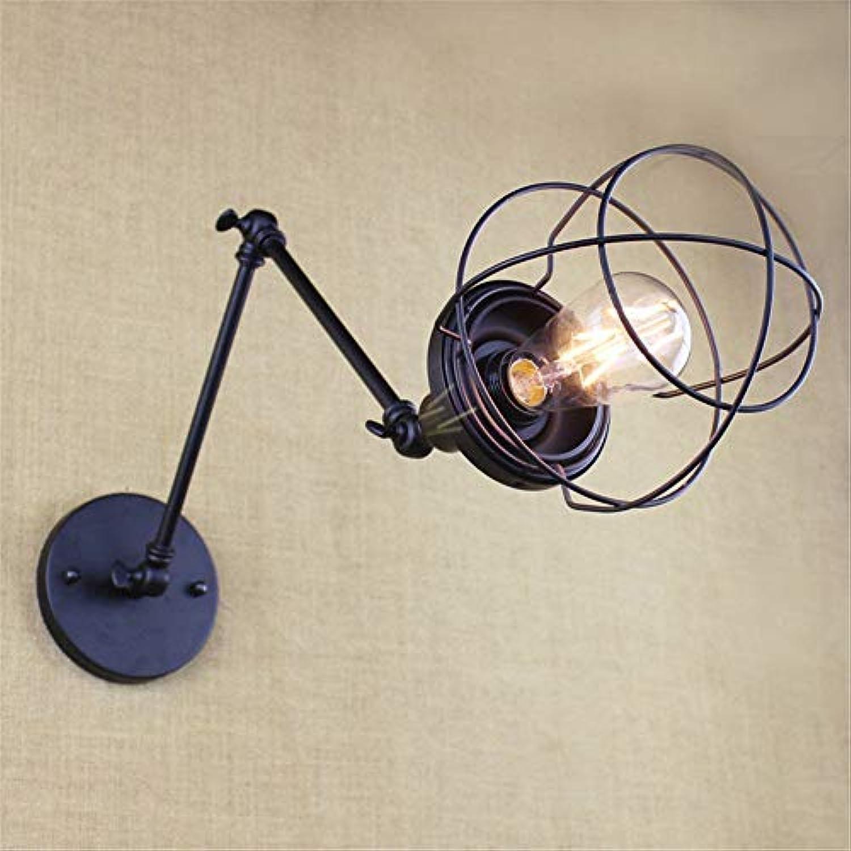 Wall Light Home Vintage Wandleuchte Langer Arm einstellbar schwarz Eisen Beleuchtung Schalter Schlafzimmer Nachtwandleuchte (Farbe   35+35cm)