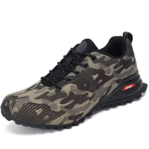 Dannto Zapatillas de Deporte Hombre Zapatos para Correr Aire Libre y Deporte Athletic Cordones Zapatillas De Running Trail Tenis Basket Respirable Gimnasio Sneakers (Camo,43